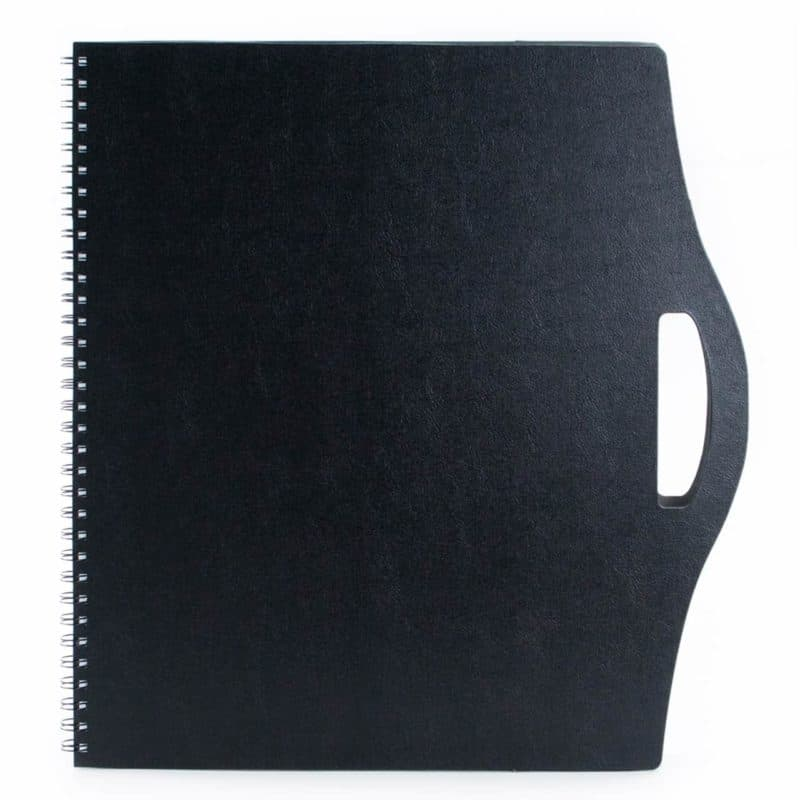 Black A3 portfolio made of recycled leather.