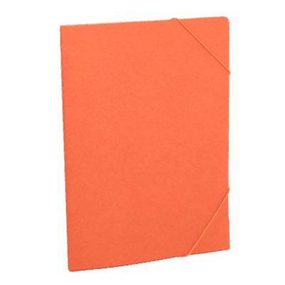 Orange document folder made of recycled cardboard.