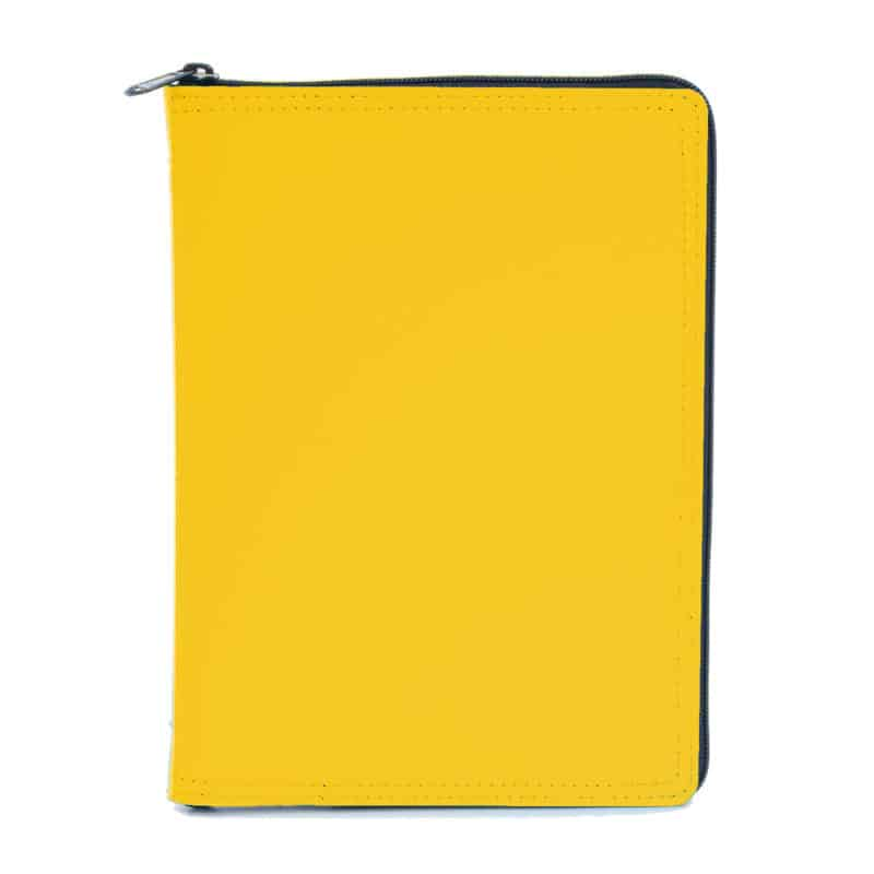 A5 calendar and notebook in leather case, yellow.