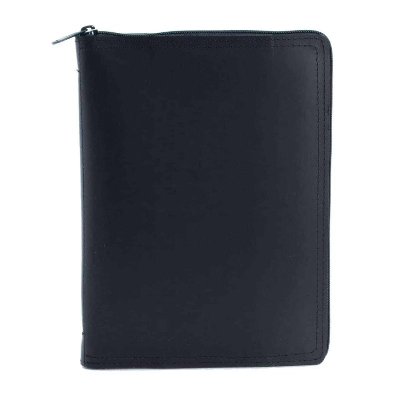 A5 calendar and notebook in leather case, black.