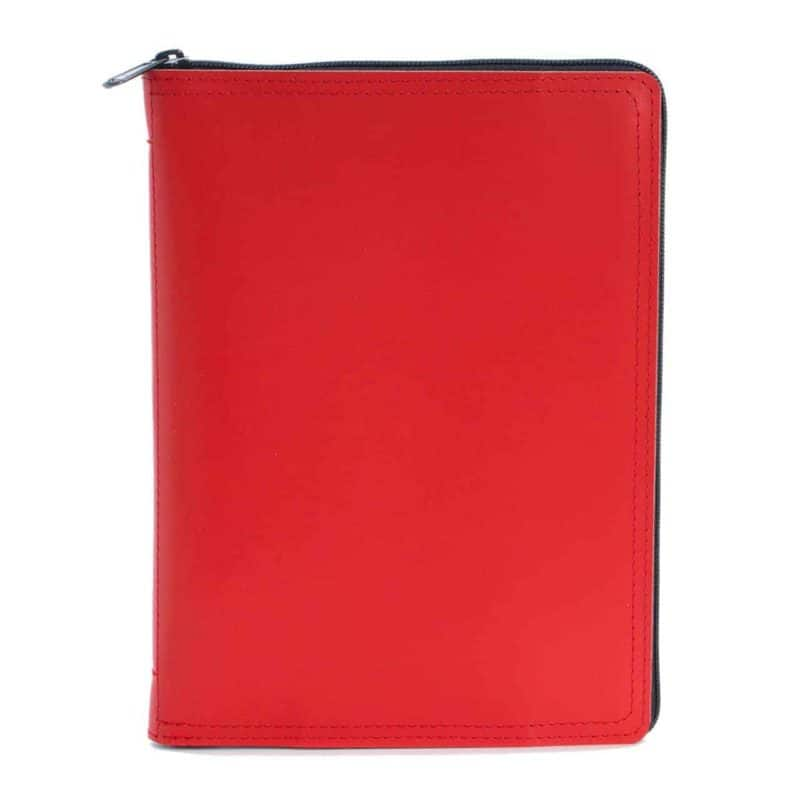 A5 calendar and notebook in leather case, red.
