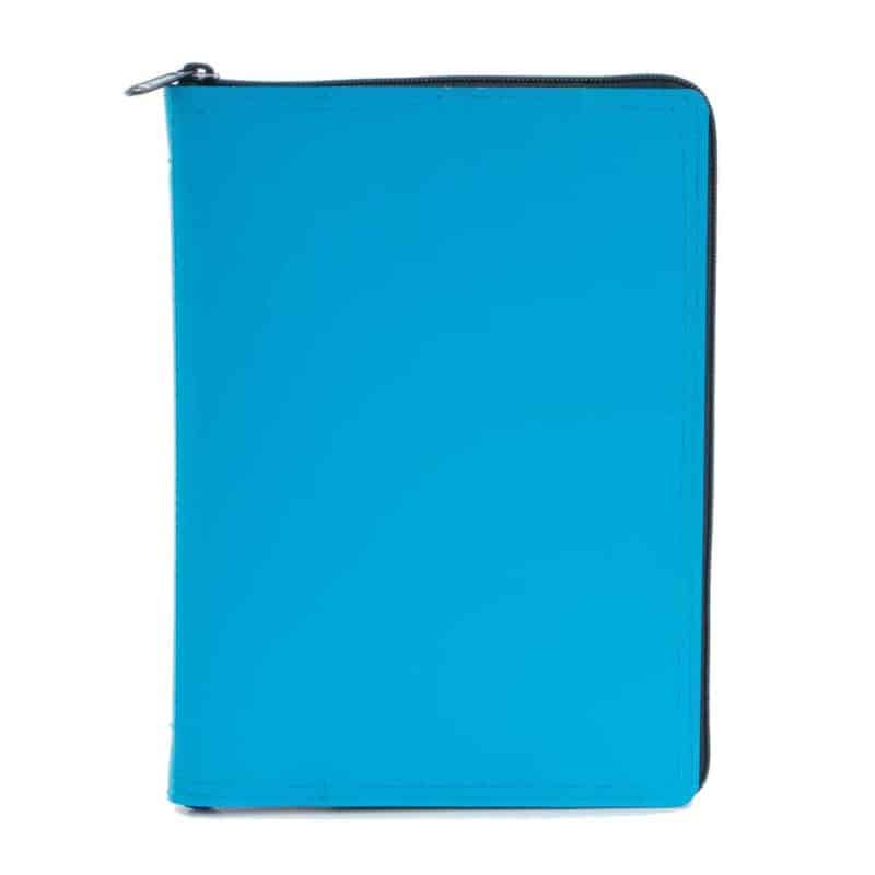 A5 calendar and notebook in leather case, turquoise.