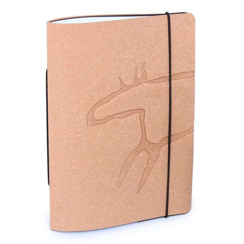 Brown Unlimited Notes notebook made of regenerated leather with Design Pylsy's Elk-embossing.