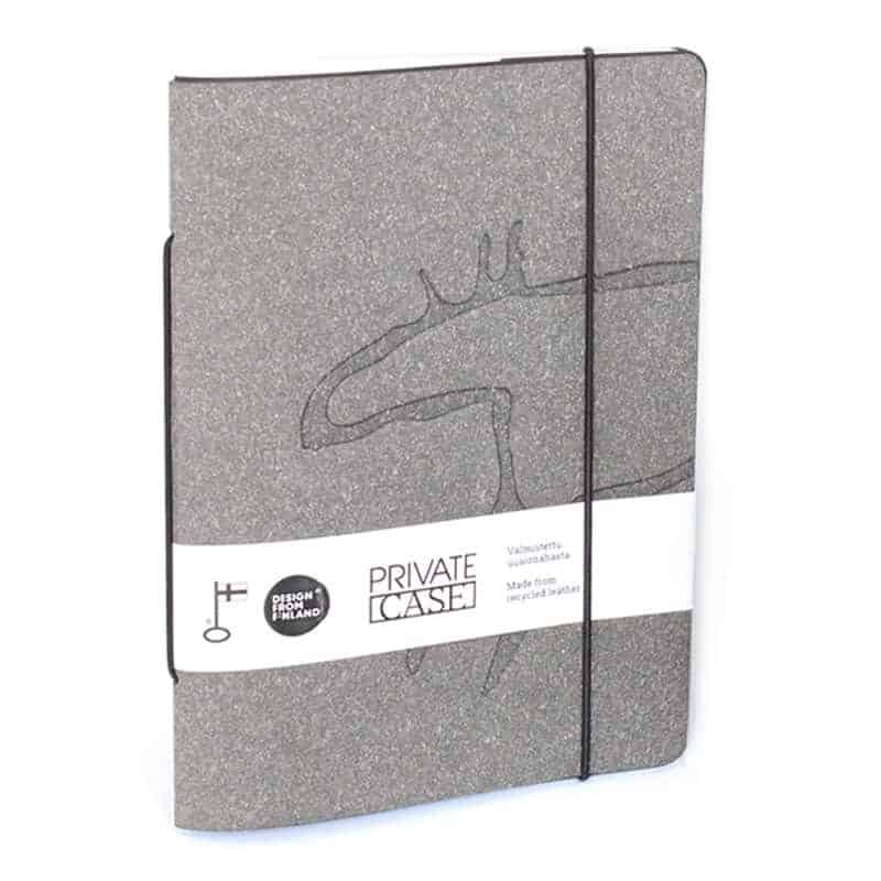 Gray Unlimited Notes notebook made of regenerated leather with Design Pylsy's Elk-embossing.