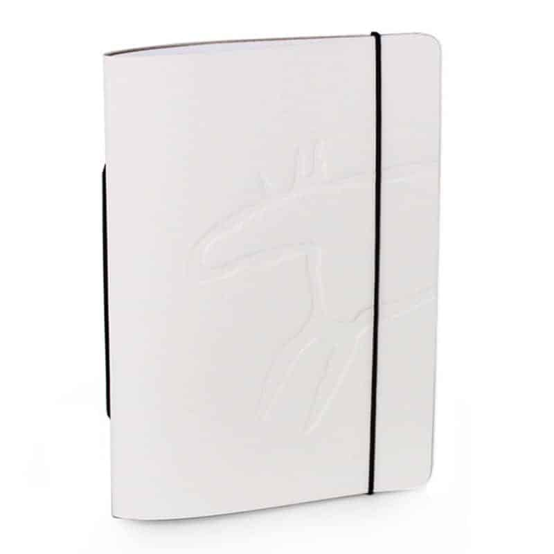 White Unlimited Notes notebook made of regenerated leather with Design Pylsy's Elk-embossing.