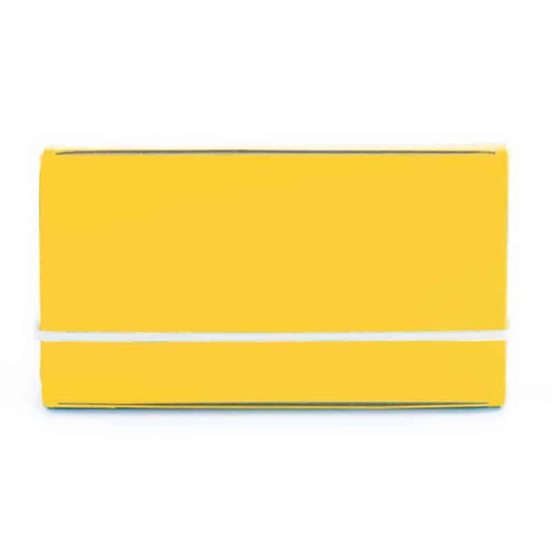 Keltainen uusionahkainen käyntikorttikotelo.