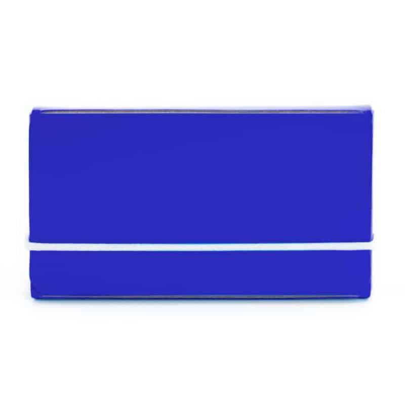 Sininen uusionahkainen käyntikorttikotelo.