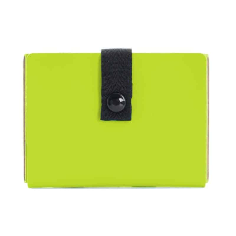 Lime credit card case made of regenerated leather.