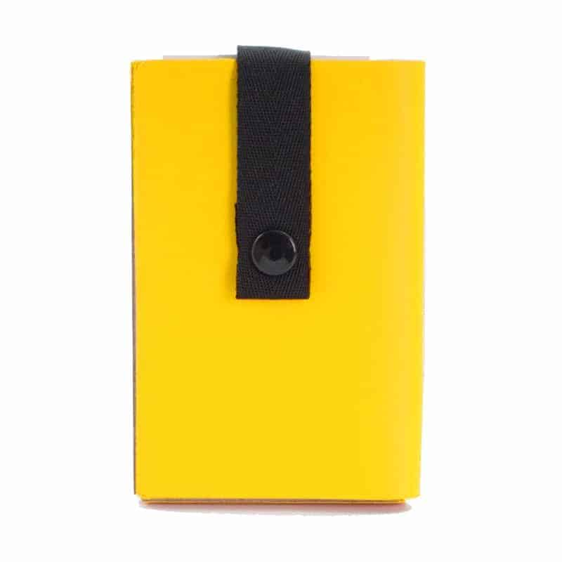 Yellow Nice to Meet You business card holder made of regenerated leather.