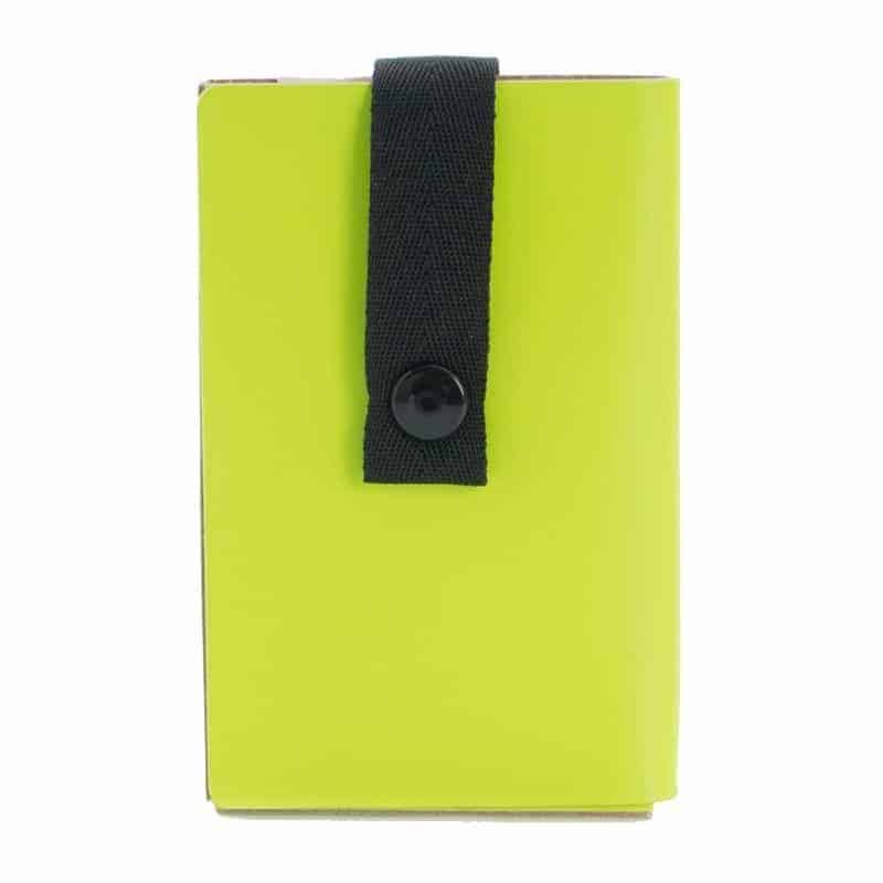 Lime Nice to Meet You business card holder made of regenerated leather.
