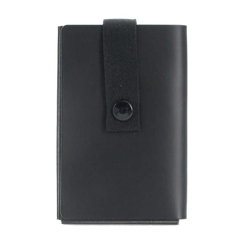 Black Nice to Meet You business card holder made of regenerated leather.