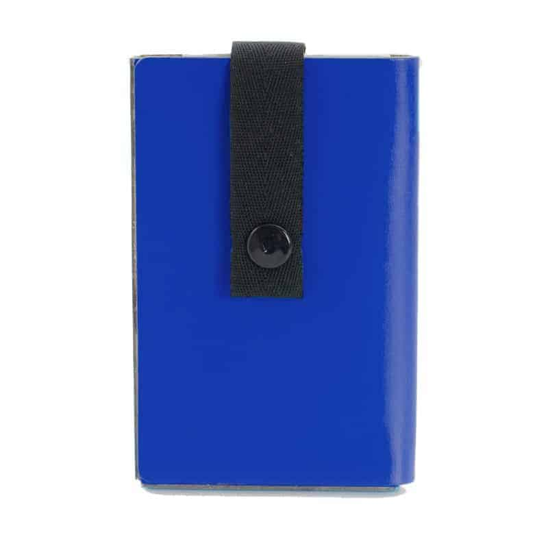 Blue Nice to Meet You business card holder made of regenerated leather.