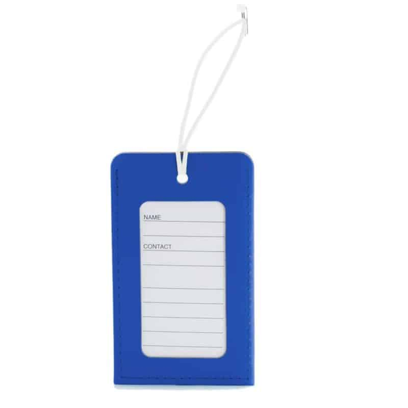 Blue luggage tag made of regenerated leather.