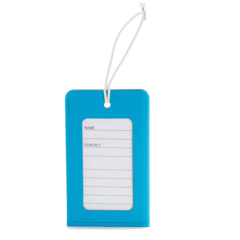 Turquoise luggage tag made of regenerated leather.