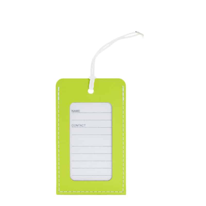 Lime luggage tag made of regenerated leather.