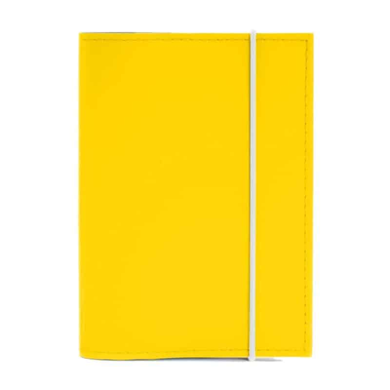 Yellow passport cover made of regenerated leather.