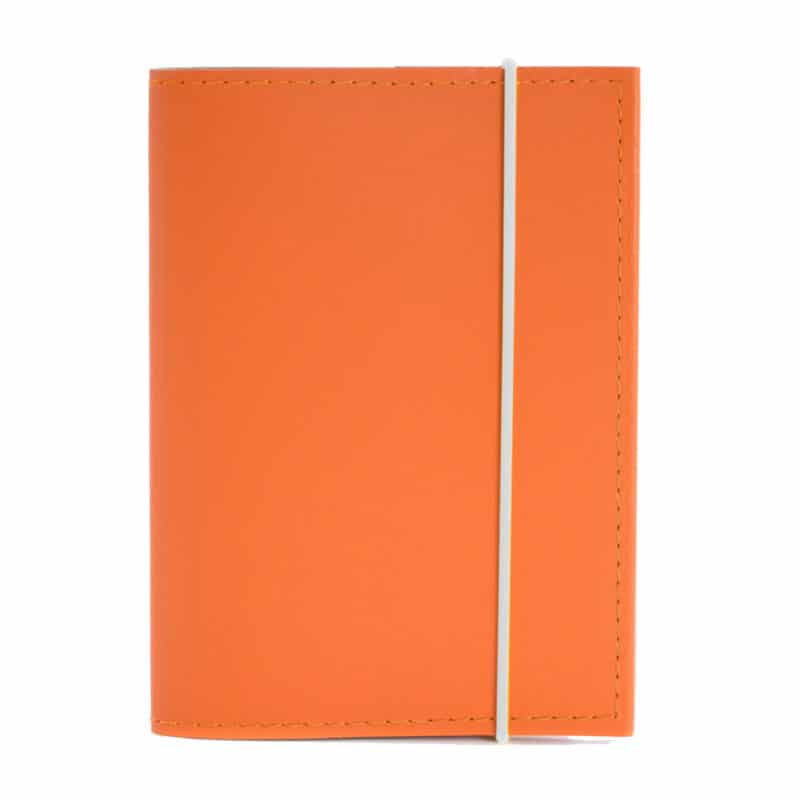Orange passport case made of regenerated leather.