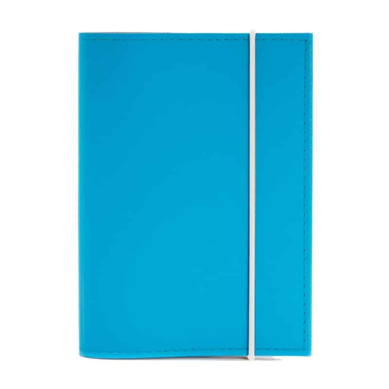 Turquoise passport cover made of regenerated leather.