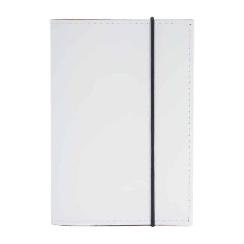 White passport cover made of regenerated leather.
