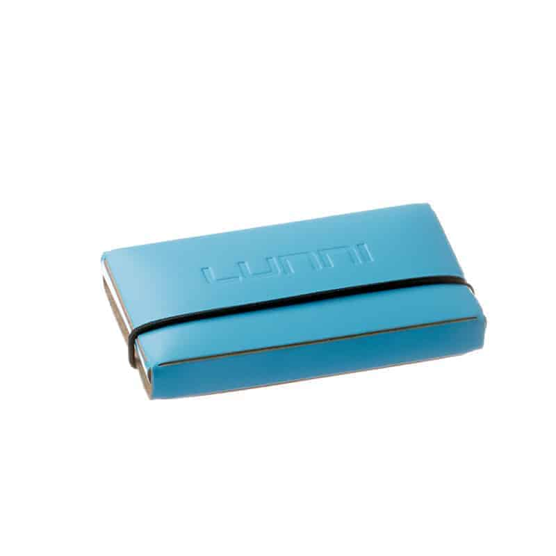 Lunni Oy business card holder, embossed logo in the back, recycled leather