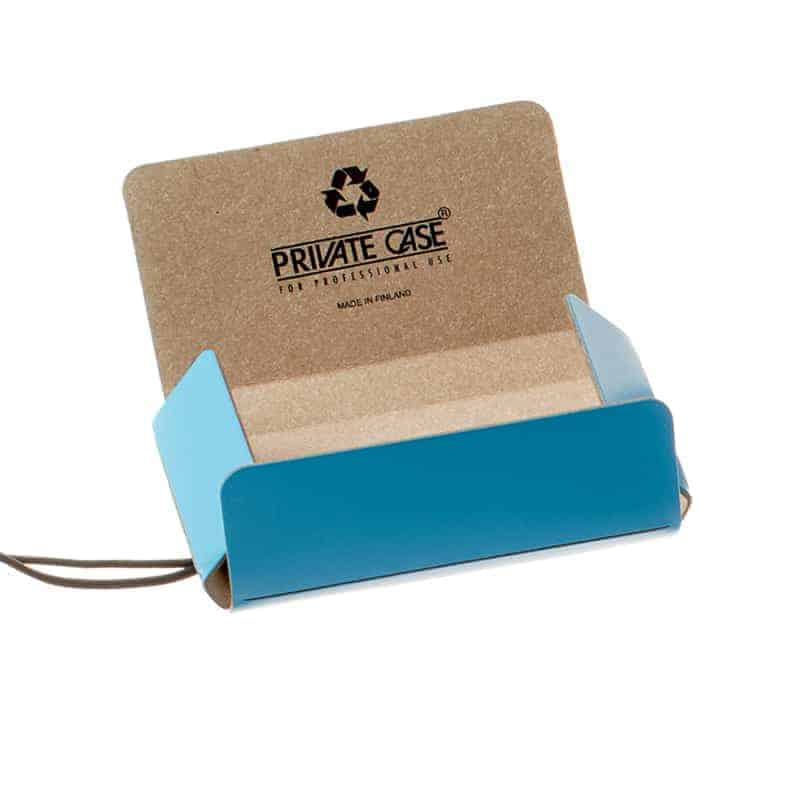 Lunni Oy business card holder with silk screen printed logo on the inside, recycled leather