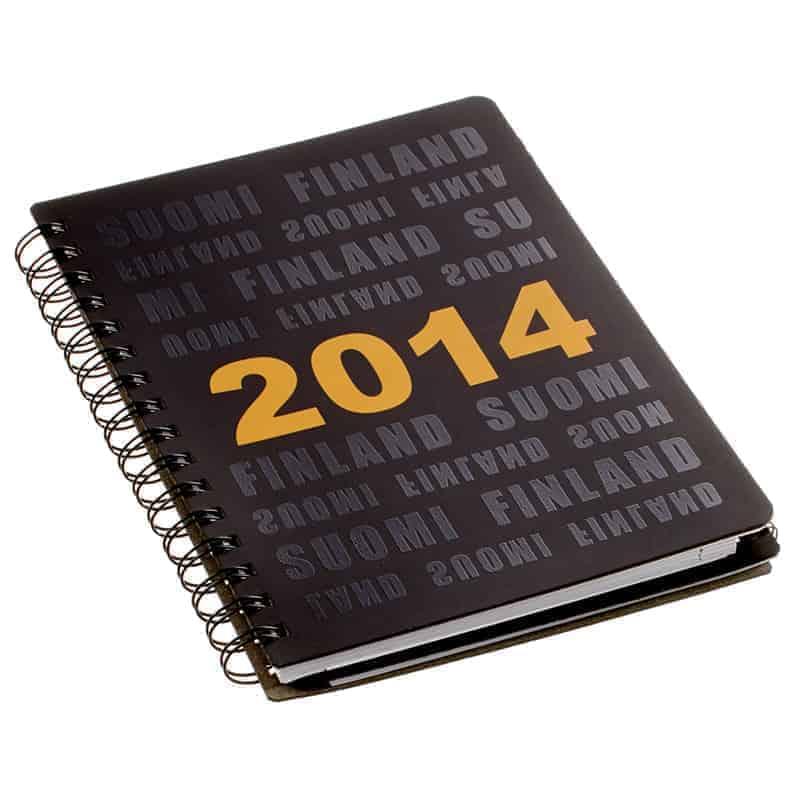 Kalenteri, sikkipainettu teksti, uusionahka