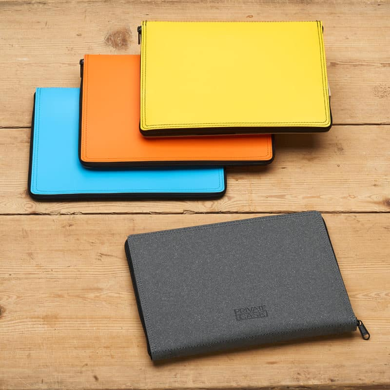 Colorful tablet cases made of regenerated leather.