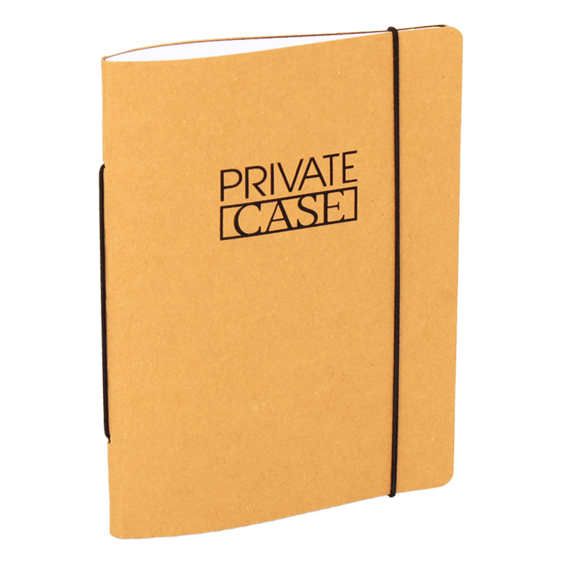 Refillable notebook made of recycled cardboard.