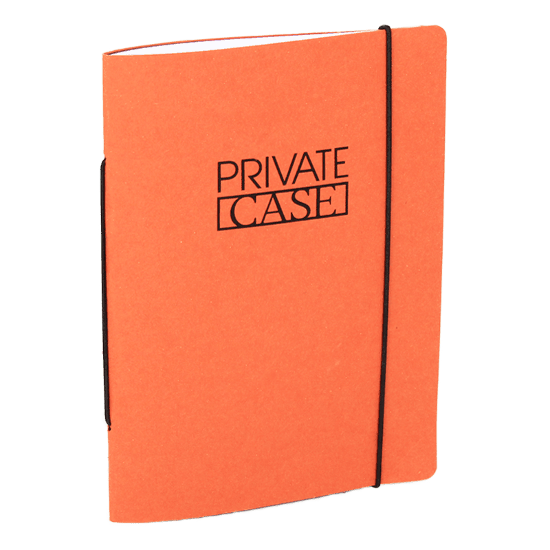 Orange Unlimited Notes notebook made of recycled cardboard.