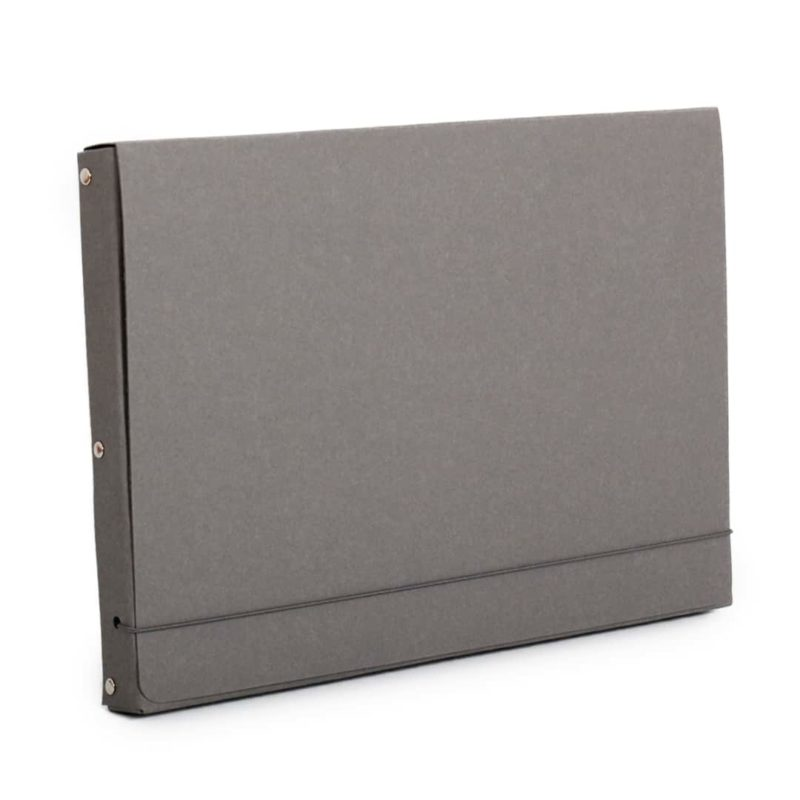 Gray document case made of recycled cardboard.