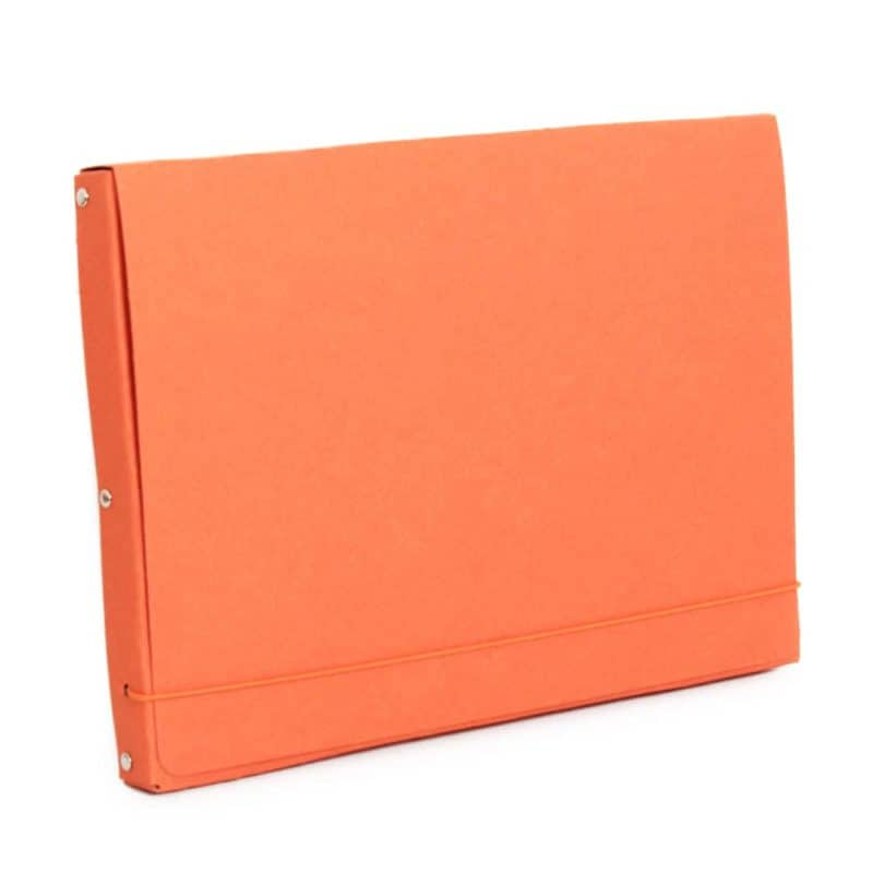 Orange document case made of recycled cardboard.