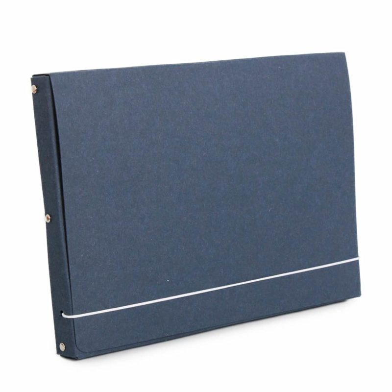 Dark blue document case made of recycled cardboard.