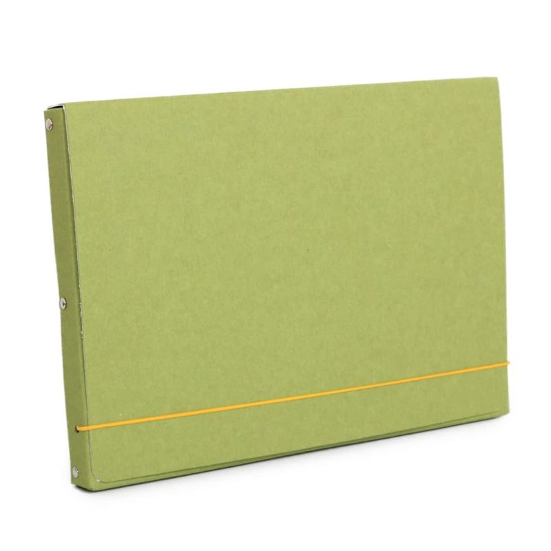 Green document case made of recycled cardboard.