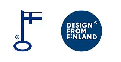 Avainlipputunnut ja Design from Finland merkki.