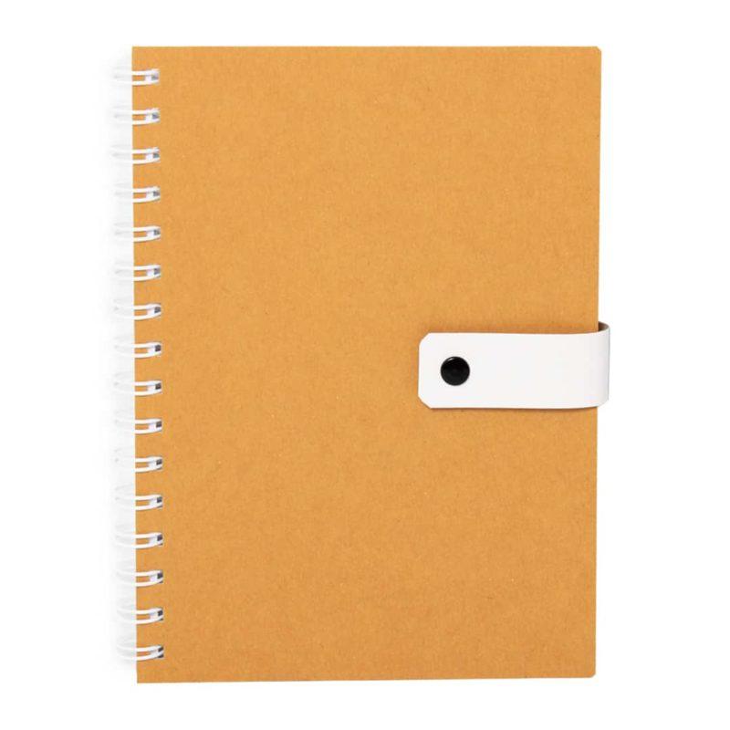 Keltainen uusiopahvinen bullet journal muistivihko.