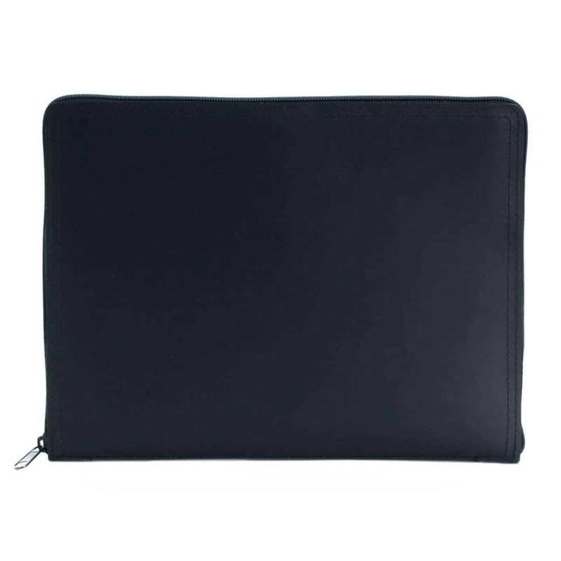 Black tablet case made of regenerated leather.