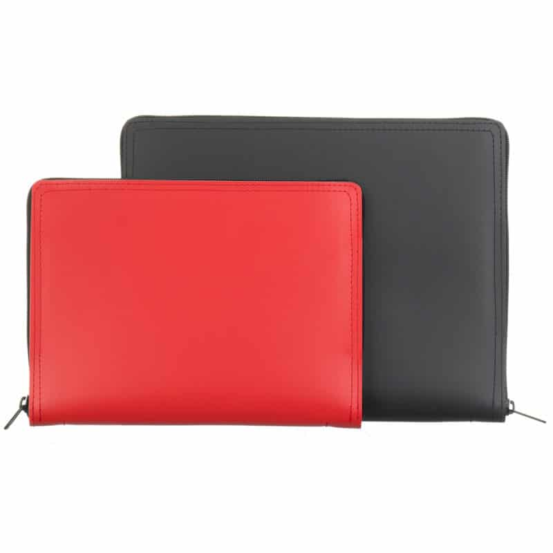 Black and red tablet case made of regenerated leather.