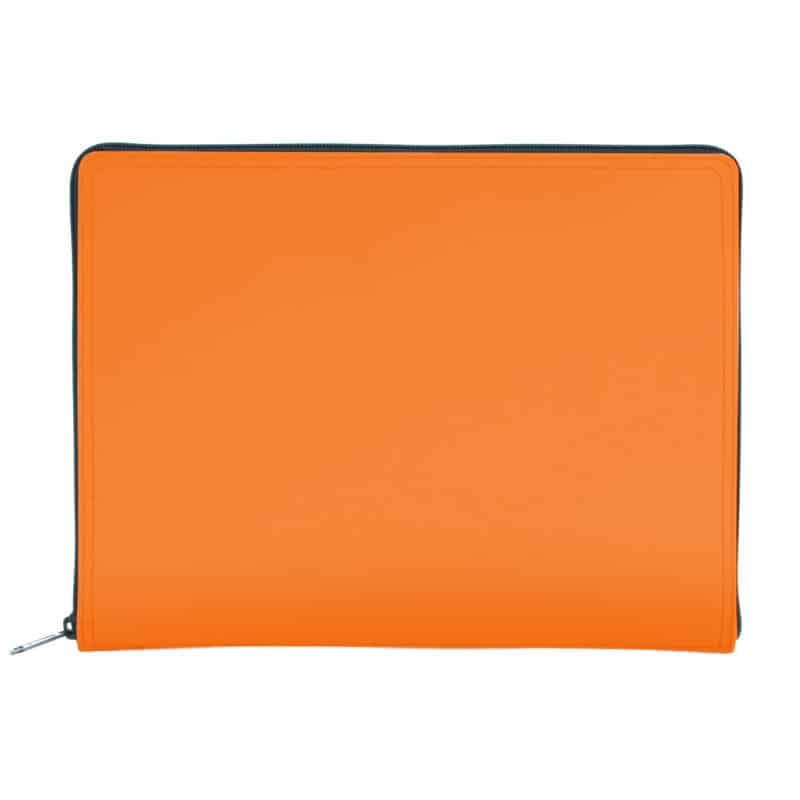 Orange tablet case made of regenerated leather.