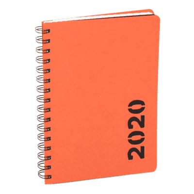 Orange Recycled cardboard calendar with a die-cut year shape 2020.