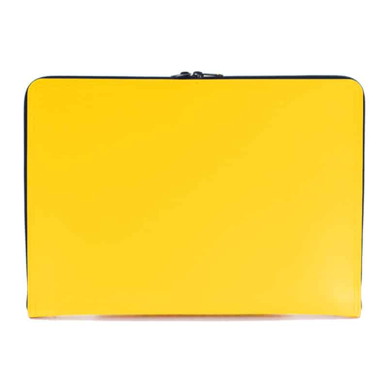 Yellow laptop case made of regenerated leather.