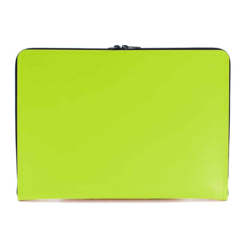 Lime green laptop case made of regenerated leather.