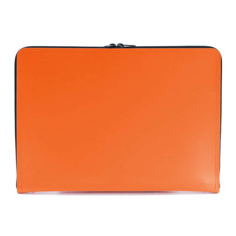 Orange laptop case made of regenerated leather.