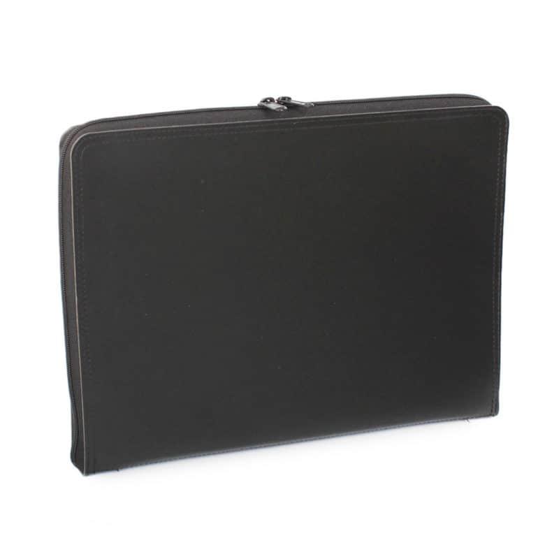 Musta uusionahkainen tietokonesalkku.