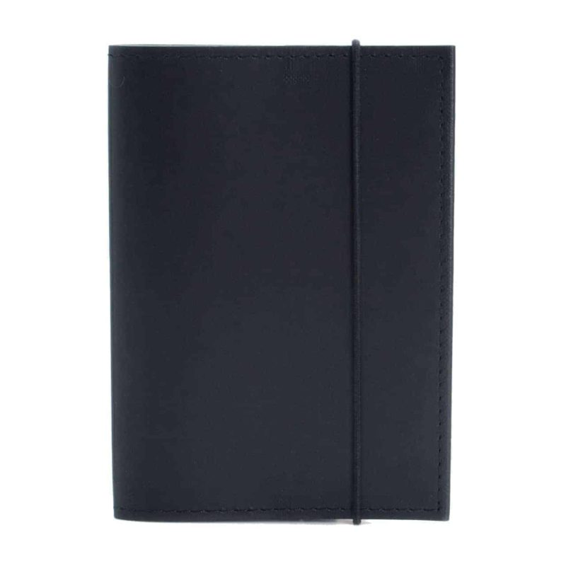 Black passport cover made of regenerated leather.