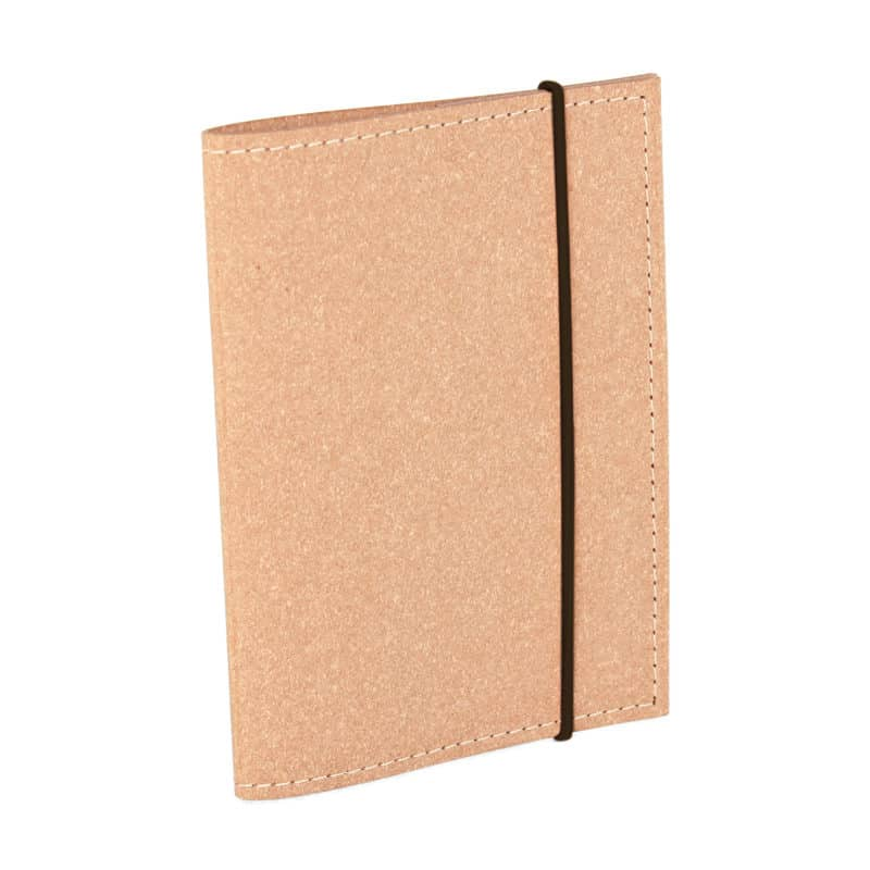 Passport cover made of regenerated leather.