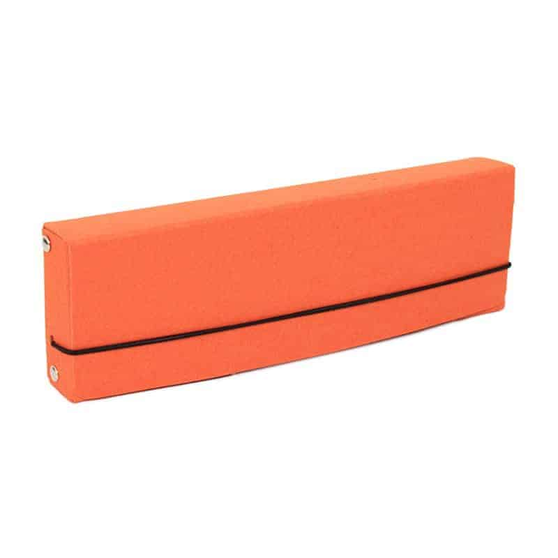 Orange pencil case made of recycled cardboard.