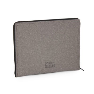 Gray tablet case made of regenerated leather.