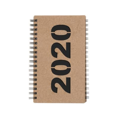Brown Classic pocket calendar with notebook.